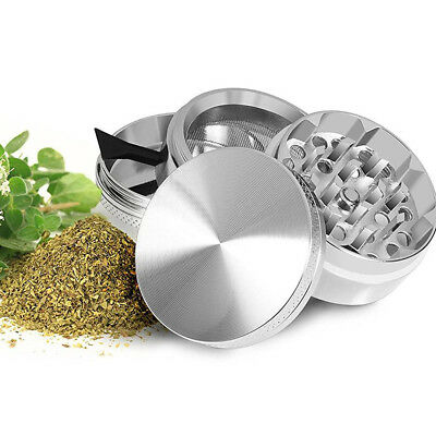 4 Piece Magnetic 1.5 Inch Silver Tobacco Herb Grinder Spice Aluminum With Scoop
