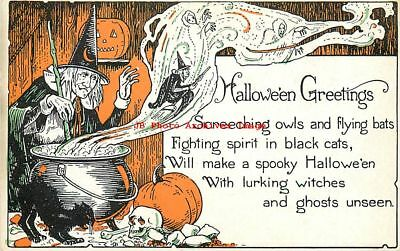 Halloween, Miller Art Co No 1275-2, Witch Cooking in Cauldron, Black Cat & Skull