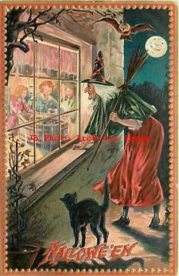 Halloween, Tuck No 160-9, Witch & Black Cat Peering Through Window at Children