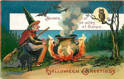 Halloween, Kathmann NL No RKL02-2, EC Banks, Witch Cooking in Cauldron,Black Cat