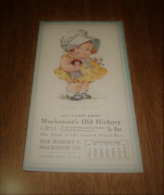 Vintage 1917 Ink Blotter Mackenzie's Old Hickory Candy Cleveland - Little Girl