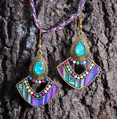 Afghani Kuchi Earrings Silver Oxidised Ethnic Beaded Tribal Statement Gypsy Drop
