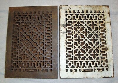 2 Matching 8 x 12 in Cast Iron Heat Grate Floor Vent Registers Louvers Ornate