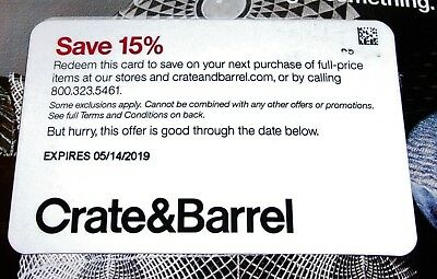 Crate & Barrel 15% Off Entire Purchase In-Store Online or Calling Exp 5/14/2019