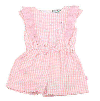 SPANISH STYLE BABY GIRL PINK GINGHAM PLAYSUIT - 3-6m, 6-9m, 9-12m
