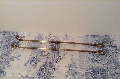 Pair Vintage French Brass Cafe Curtain Rods (3016)