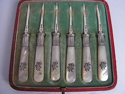 Rare Set Of 6 Solid Sterling Silver Lobster Picks With Mother Of Pearl Handles