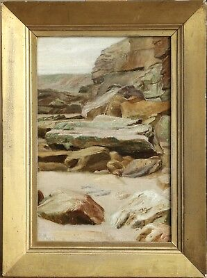 19th CENTURY ENGLISH PRE RAPHAELITE OIL - ROCKS ON COAST - INDISTINCTLY SIGNED
