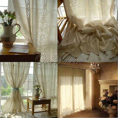 French Country Cotton Linen Crochet Lace Drape Curtain Living Room Hotel Decor