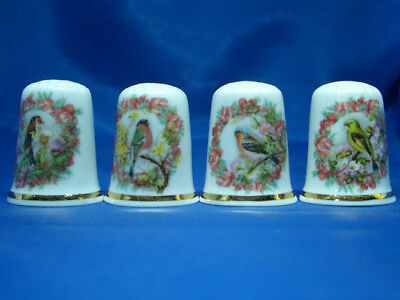 Fine Porcelain China Thimbles - Set Of Four Cameo Birds