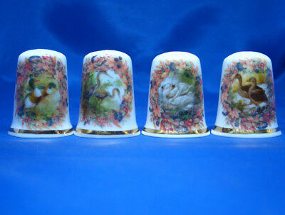 Fine Porcelain China Thimbles - Set Of Four Cameo Waterbirds