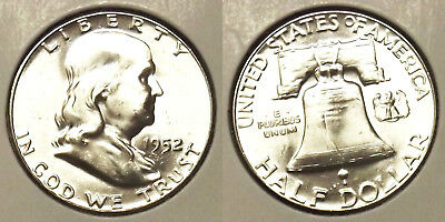 "1952 Franklin Half Dollar ""uncirculated"" 50¢ Silver Coin (Lot #3)"