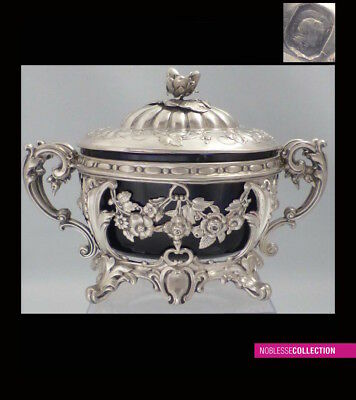 RICH ANTIQUE 1880s FRENCH OPENWORK STERLING/SOLID SILVER SUGAR BOWL Rococo style