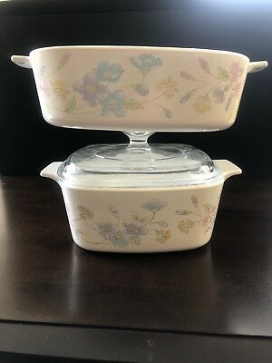 """Corning Ware ~ """"Pastel Bouquet"""" ~ 2 CASSEROLE DISHE~ A-1½ and A-2-B And 1 Lid"""