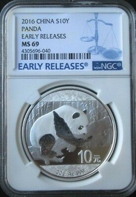 2016 China Silver Panda 30g MS69 NGC - EARLY RELEASES - Blue Label