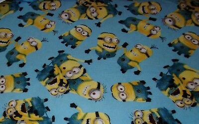 New Hand Made Minions on Blue Flannel Fitted Crib/Toddler Sheet