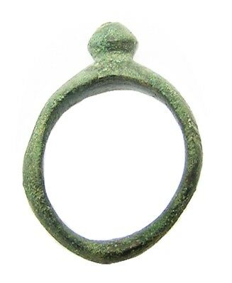 3rd - 1st century B.C. Iron Age Celtic Bronze Finger Ring Knobbled Type Size 5