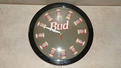 """Vintage 11""""  BUDWEISER Wall Clock -  With BUDWEISER CANS FOR TIME"""