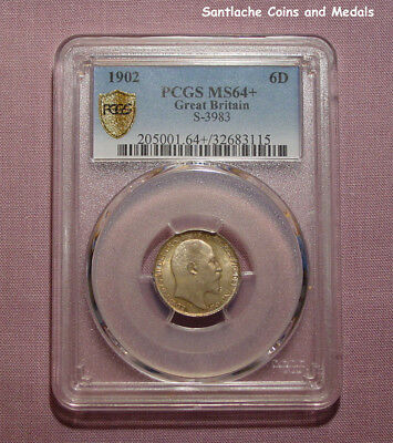 1902 KING EDWARD VII SIXPENCE - Slabbed & Graded Choice Uncirculated By PCGS