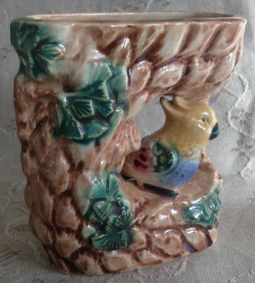 "Vintage Majolica wall pocket, parrot and flowers 5"" high, Hand Painted Japan"