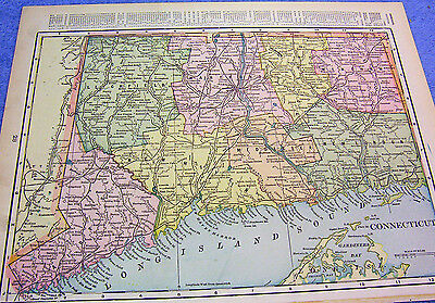 Antique Map  Connecticut W/ Railroads ,post Offices, Campbell's Mills, Stations