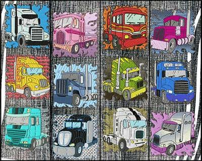 Trucks 12  Machine Embroidery Designs Cd 2 Sizes Includes Black Work 2 Sizes