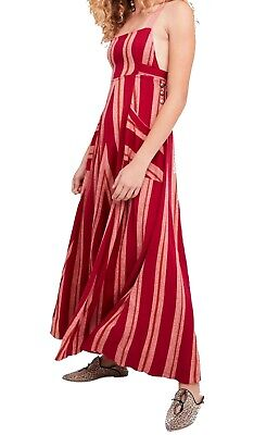 ba9ee1a30b6 Free People NEW Red Women Size Medium M Striped Criss Cross Maxi Dress  198   555