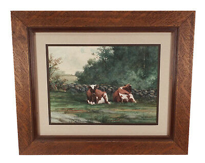 Charming Framed Antique Pastoral Watercolor Landscape With Cows Trees Painting