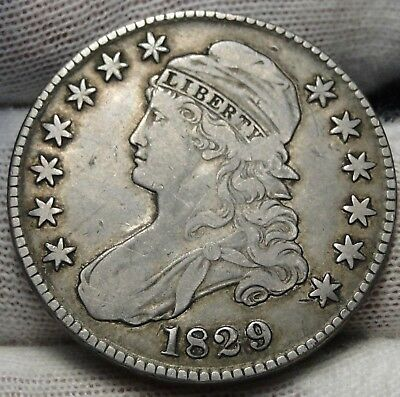 1829 Capped Bust Half Dollar - 50 Cents, Nice Coin, Free Shipping  (5325)