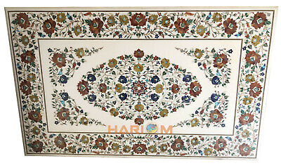 """48""""x78"""" Rectangle Marble White Top Dining Table Floral Marquetry Inlay Art E537"""
