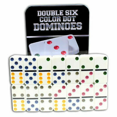 Double Six Color Dot Dominoes Game Set - 28 Double 6 Dominoes Set UK SELLER NEW