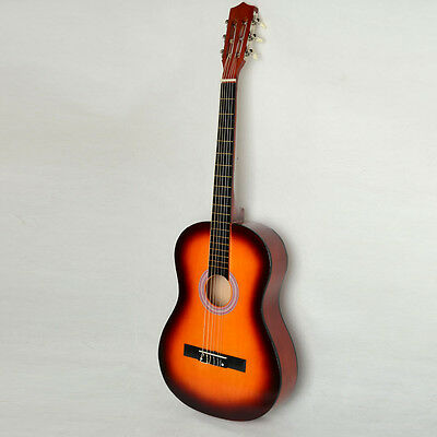 """New 38"""" Basswood Fingerboard Classical Acoustic Guitar Sunset + Pick + String"""