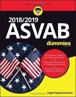 2018 / 2019 ASVAB For Dummies 1st Edition byAngie Papple Johnston paperback NEW