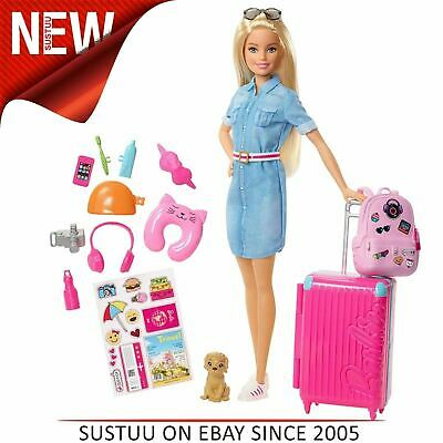 Barbie Travel Doll and Travel Accessorie Kit│Colourful Luggage Gift Play Set│3y+