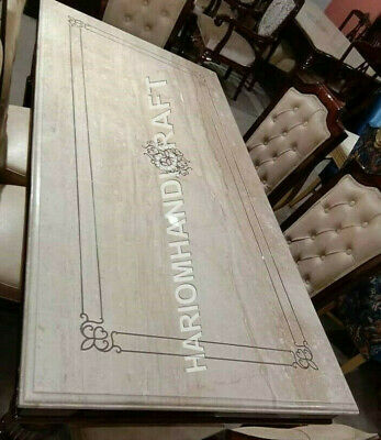 4 X2 Marble Black Dining Table Top Mother Of Pearl Elephant