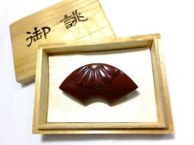 MINT Japanese Vintage Wooden Pin Broach Sensu Shape Flower Pattern Red Lacquered