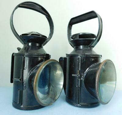 2X English 3 & 4 Colour Railway Signal Oil Lamp Lanterns 1900s