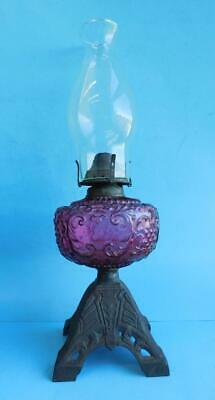 Stunning Cranberry Glass & Cast Iron Table Oil lamp Miller Burner 1890s