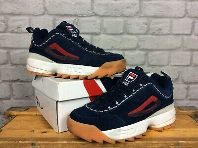 4259d61dd820 Fila Mens Uk 7 Eu 41 Disruptor Ii Repeat Navy Blue Suede Gum Sole Trainers