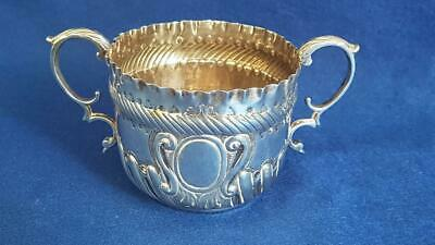 LC3: Antique H/M Sterling Silver Loving Cup w Crenelated Rim Ldn 1887 160g