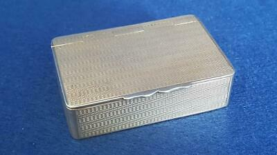 Superior H/M Sterling Silver Engine Turned Art Deco Snuff Box Ldn 1927 77g