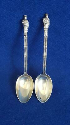 Excellent & Rare Pair 1900s Chinese Export Silver Apostle Spoons 33g