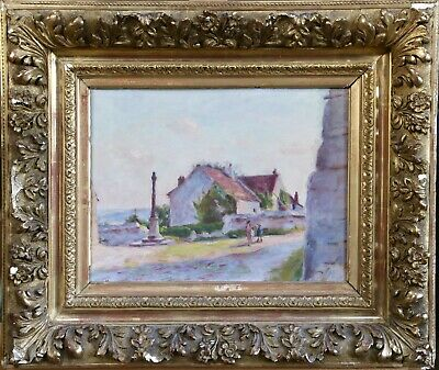 Lucien Mignon (1865-1944) Signed French Impressionist Oil Figures In Village