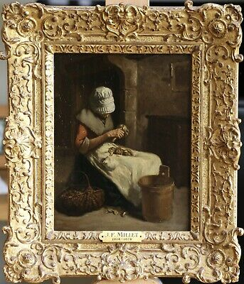 Jean Francois Millet (1814-1875) Signed 1846 Oil On Panel Woman Peeling Onions