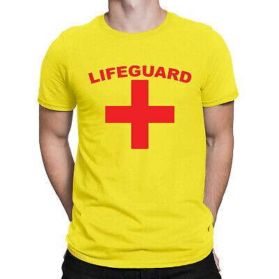 Mens LIFEGUARD T-Shirt Funny Fancy Dress Beach Party Costume Stag Do Top Tee