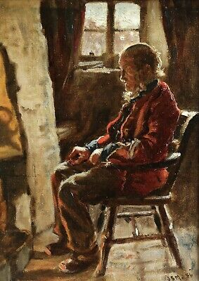 James Smith Morland (1846-1921) Signed & Dated 1886 Oil - Man Seated By Fire