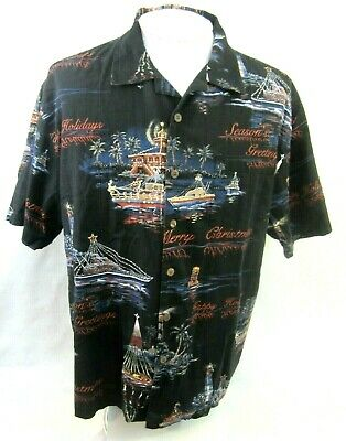 32a367b3 BOCA CLASSICS Men Hawaiian Christmas shirt boating regatta Santa XL 27