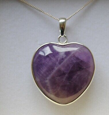 Large Sterling Silver Amethyst Gemstone Heart Pendant Necklace in Gift Box