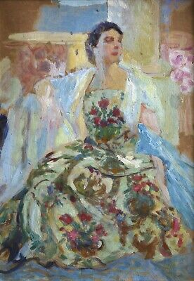 1940's FRENCH POST IMPRESSIONIST OIL - PORTRAIT OF LADY IN EMBROIDERED DRESS