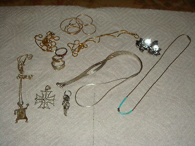 Lot of 12 Pieces of Sterling Silver Jewelry - Necklaces, Rings, Etc. - FREE SHIP